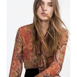 Zara Paisley Long Sleeve Blouse